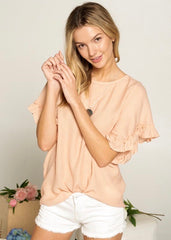 Ruffle Sleeve Spring Tops - 2 Colors!