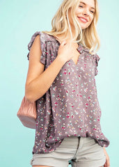 Fall Floral Flutter Sleeve Tops