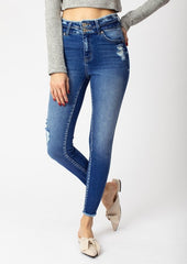 Kan Can High Rise Medium Wash Distressed Double Button Jeans