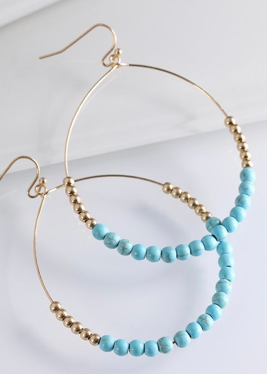 Stone Beaded Hoop Earrings - 5 Colors!