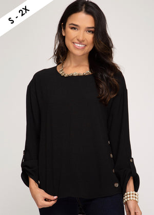 Black Button Cuffed Top