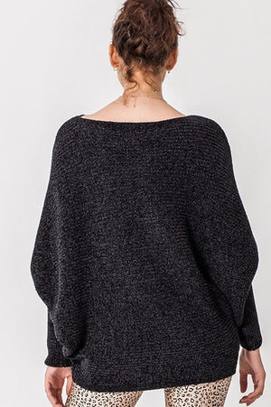 Black Chenille Dolman Sweater