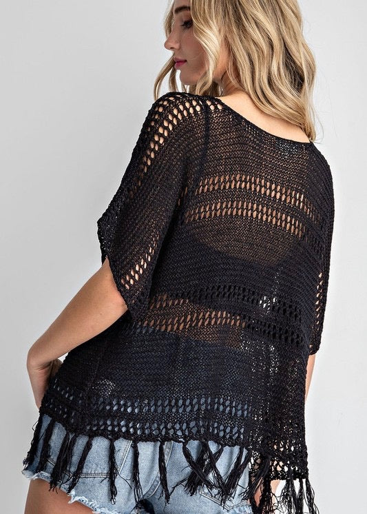 Crochet Fringe Top - Black