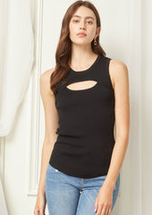 Black Ribbed Cut Out Tank