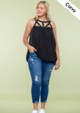 Curvy Black Cut Out Tank