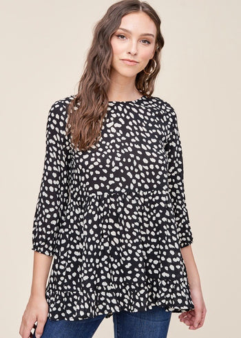 Black Ivory Animal Dot Top