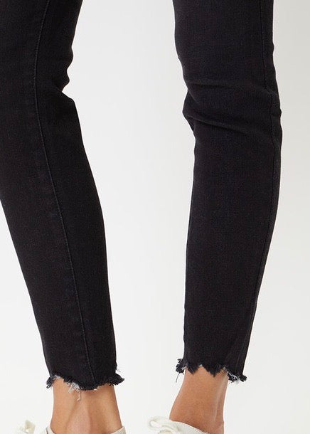 Kan Can Black High Rise Button Fly Destructed Hem Ankle Skinny Jeans