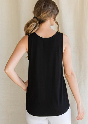 Lace Detail Knit Tank - Black