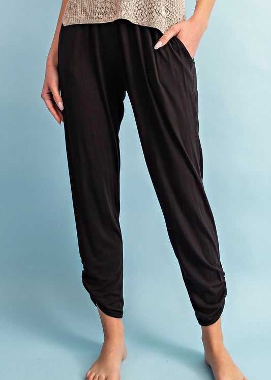 Black Shirred Pants