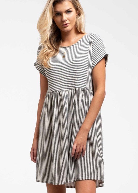 Button Back Black Striped Babydoll Dress