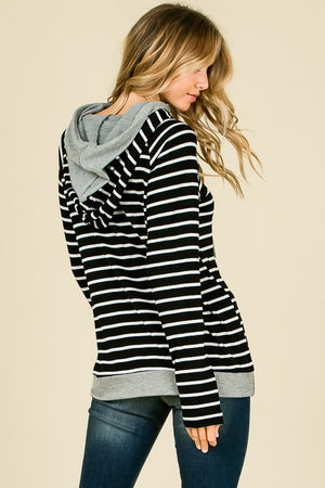Black Striped Thumb Hole Hoodie