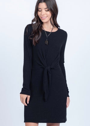 Soft Tie Front Dress - Black