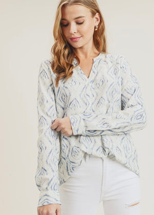 Printed Roll Up Sleeve Top - Blue