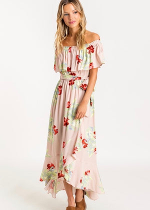 Blush Floral Off The Shoulder Dress