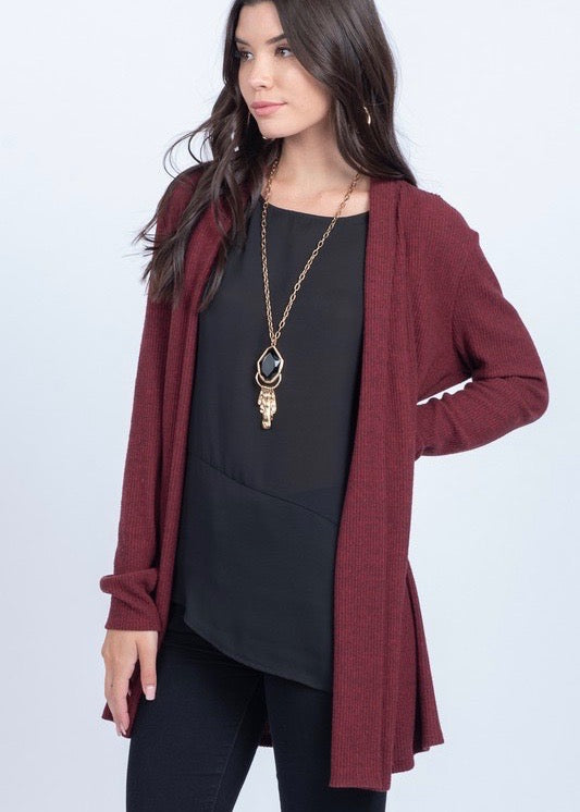 Burgundy Ribbed Cardigan