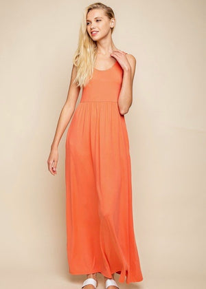 Buttery Soft Coral Pocket Maxi Dress