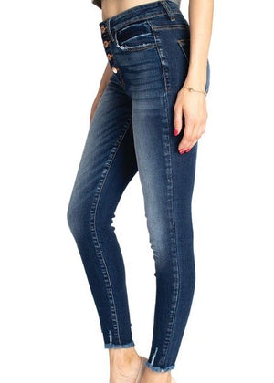 Kan Can Skinny Button Fly Jeans
