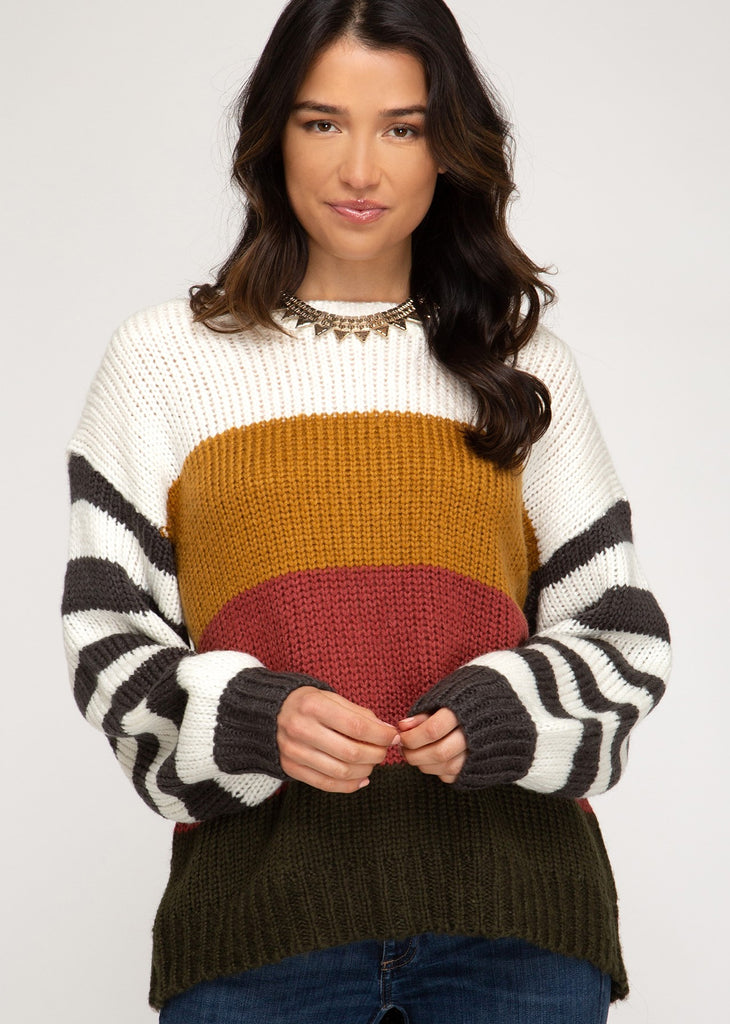 Striped Color Block Sweater