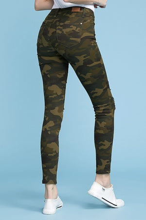 Destructed Camo Skinny Jeans
