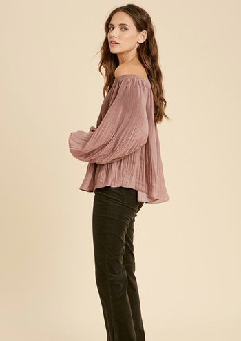 Mauve Satin Pleated Top