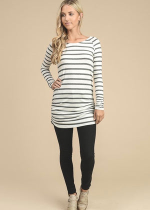 Gray Striped Side Ruched Top