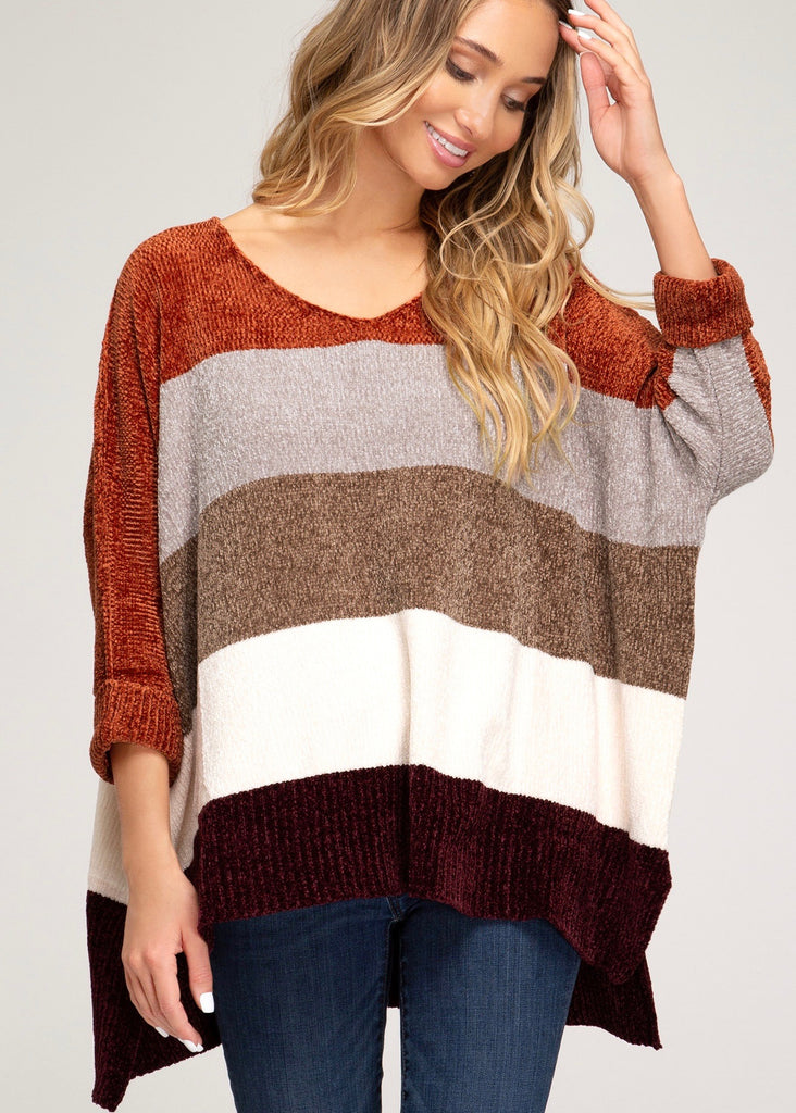 Chenille Striped Pullover - Rust Mocha