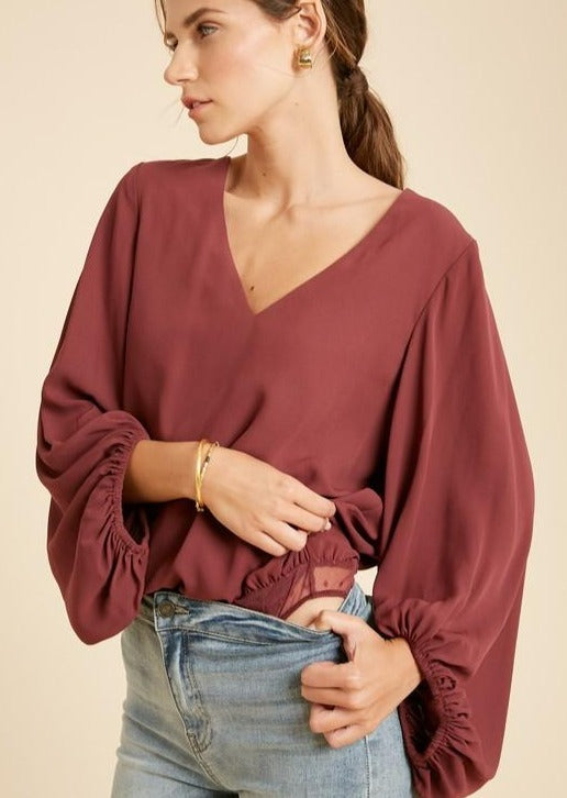 Wine Bubble Sleeve Bodysuit