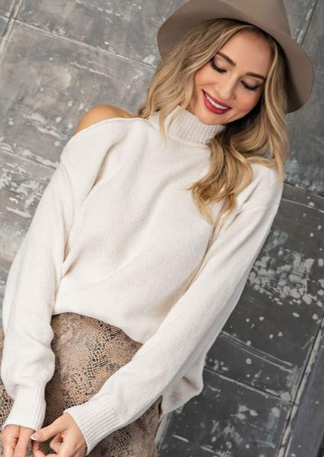 Cozy Cold Shoulder Turtleneck