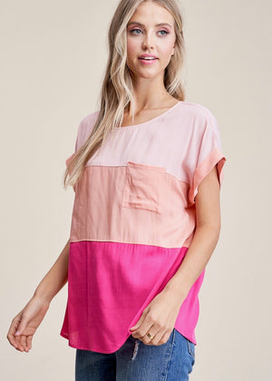 Feeling Pink Color Block Top