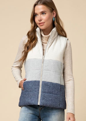 Blue Color Block Puffer Vest