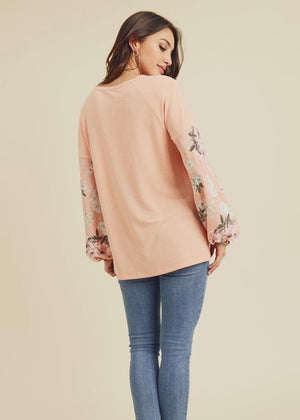 Coral Floral Sleeve Top