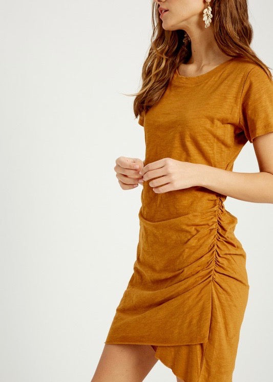 Spice Cotton Side Ruched Dress