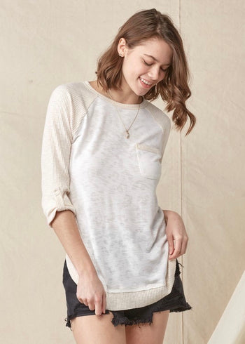 Cream Subtle Animal Print Raglan Top