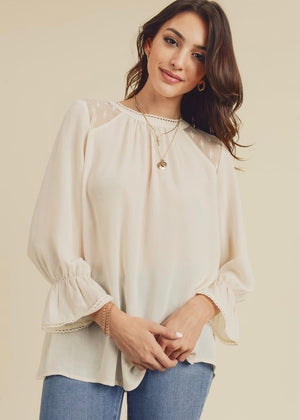 Cream Button Back Chiffon Top
