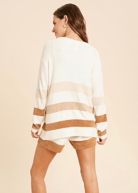 Sunday Morning Coffee Soft Lounge Set - Cardigan & Shorts