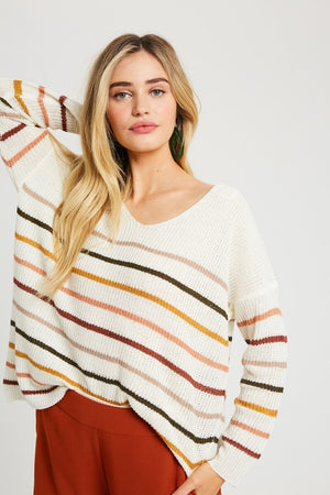 Cream Fall Striped Pullover