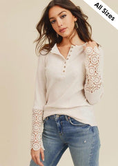 Cream Lace Sleeve Top