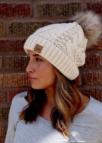 Cable Knit Pom Hats - 2 Styles!