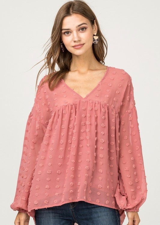 Rose Dotted Flowy Top