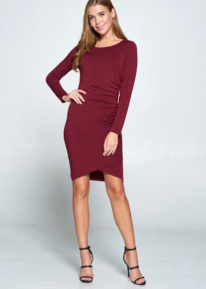 Side Ruched Dress- Dark Wine