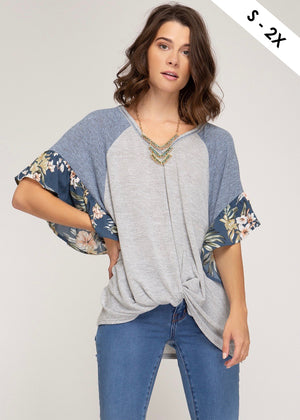 Denim Floral Twist Top
