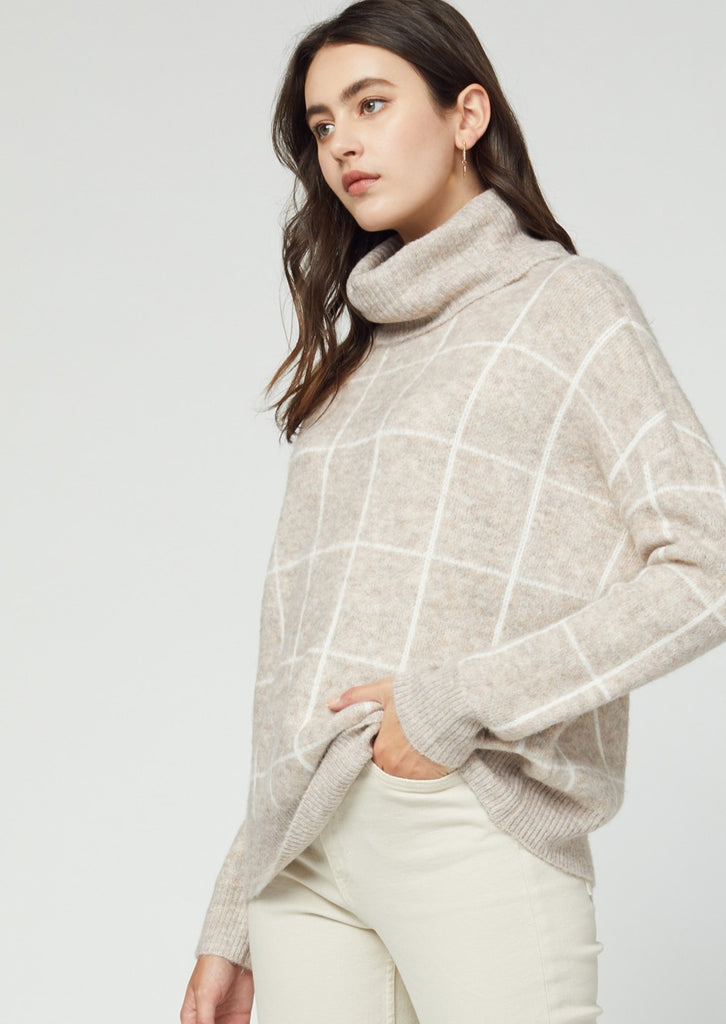 Multi-Tone Beige Grid Turtleneck