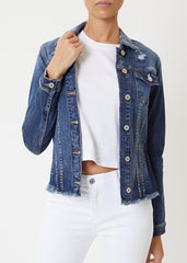 Kan Can Distressed & Frayed Hem Dark Wash Jean Jacket