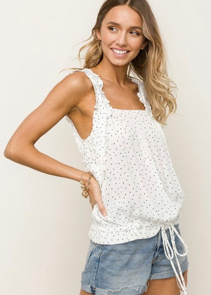 Dotted Cinched Tank