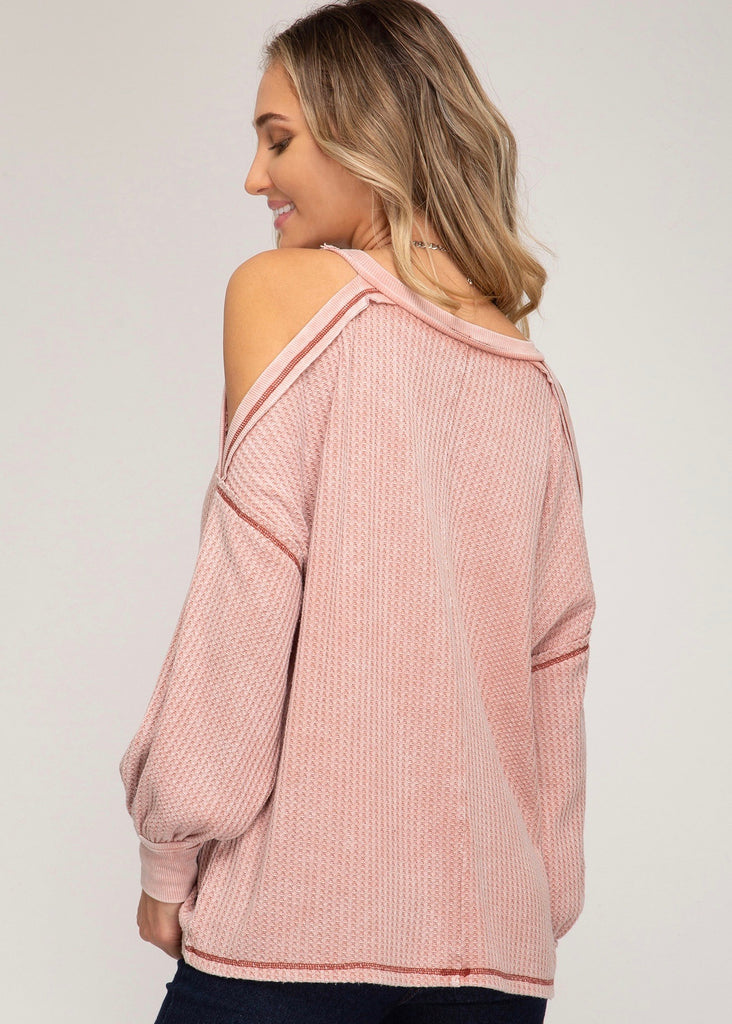 Waffle Cold Shoulder Top - Dusty Coral