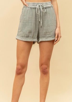 Dusty Sage Washed Cotton Shorts