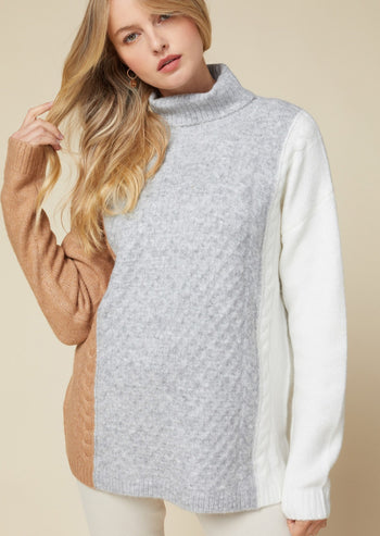 Cable Detail Turtleneck Sweater