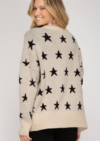 Taupe Star Sweater