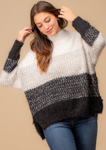 Gray & Black Fuzzy Popcorn Turtleneck