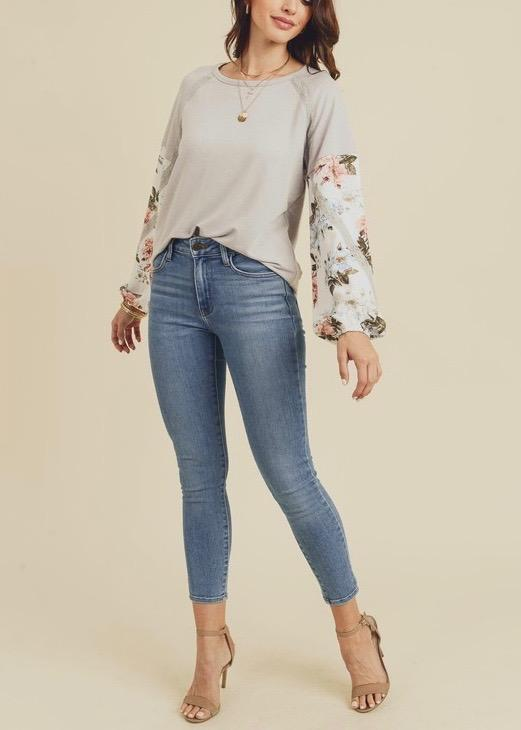 Floral Puffy Sleeve Tops - 2 Colors!